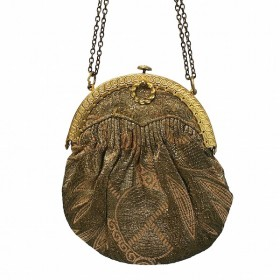 1920s Egyptian Revival Patterned Pink and Gold Lamé Vintage Evening Bag