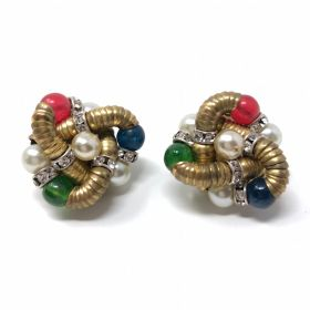 1950s Rhinestone Rondelle and Gilt Metal Vintage French Earrings