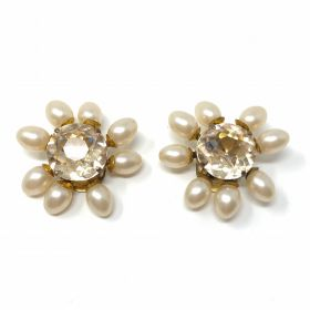 1930s French Crystal and Faux Pearl Vintage Flower Dress Clips