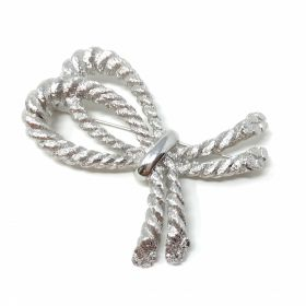 Christian Dior 1980s Silver Tone Vintage Bow Brooch