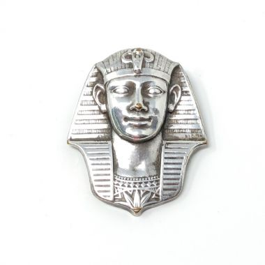 1920s Egyptian Revival Silver Vintage Pharaoh Brooch