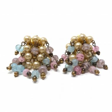 Coro 1940s Faux Pearl and Glass Bead Vintage Earrings
