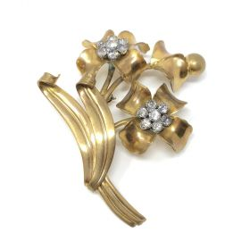 1940s French Rhinestones and Flowers Vintage Brooch