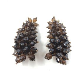 Coppola e Toppo 1960s Brown Glass Bead Vintage Cuff Earrings