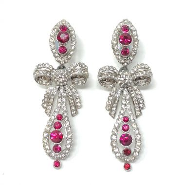 1950s Couture Ruby Rhinestone Pendeloque Design Vintage Drop Earrings