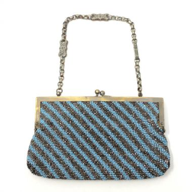 Victorian Silver and Turquoise Glass Bead Antique Evening Bag