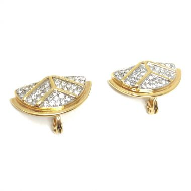 Monet 1980s Gold Plated Vintage Art Deco Style Earrings