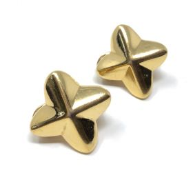Monet 1980s Gold Plated Vintage Cross Design Earrings