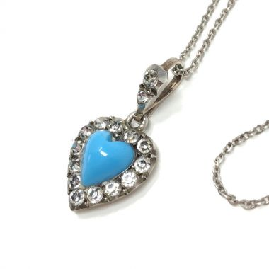 Victorian Silver, Paste and Turquoise Glass Antique Heart Pendant Necklace