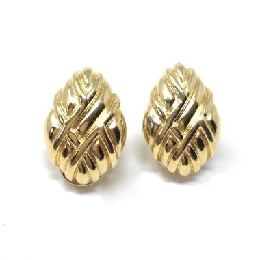 Monet 1980s Gold Plated Vintage Cross-Hatch Design Earrings
