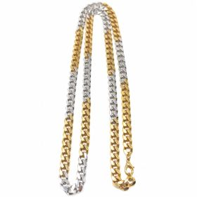 1980s Gold and Silver Tone Long Curb Link Chain Vintage Necklace