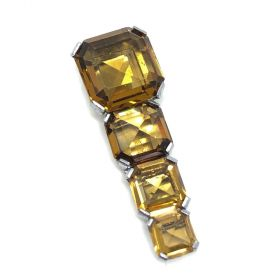 1930s Square Cut Topaz Crystal Vintage Dress Clip