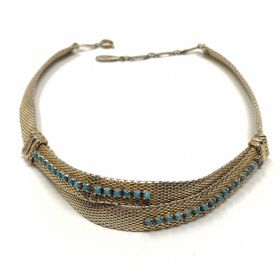 Christian Dior by Grossé 1960s Gold Plated, Turquoise Glass Detailed Vintage Collar