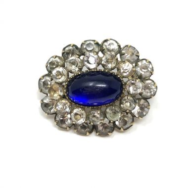 Victorian Paste and Blue Glass Antique Brooch