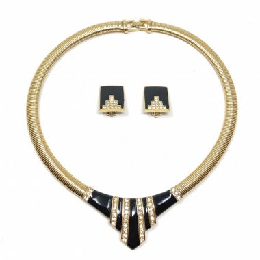 Givenchy 1970s Gold Plated, Black Enamel and Rhinestone Vintage Art Deco Style Necklace and Earrings Set