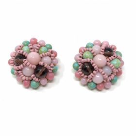 Coppola e Toppo 1950s Turquoise and Pink Glass Bead Vintage Earrings