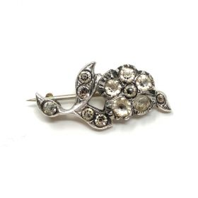 Georgian Black Dot Paste and Silver Antique Flower Brooch