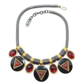 Yves Saint Laurent 1980s Tribal Inspired Red Glass and Gunmetal Vintage Necklace