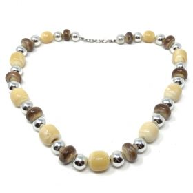 Yves Saint Laurent 1970s Faux Silver and Horn Vintage Resin Beaded Necklace