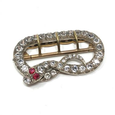 Victorian Silver, Brass and Paste Antique Snake Buckle