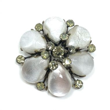 1950s French Couture Glass and Rhinestone Vintage Flower Fur Clip