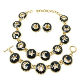 Valentino 1990s Black Enamel Sun, Moon and Stars Design Necklace, Bracelet and Earrings Set
