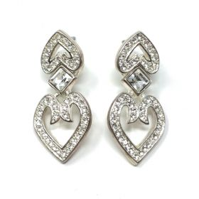 Napier 1980s Silver Plated Rhinestone Heart Vintage Drop Earrings