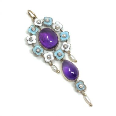 Edwardian c.1900 Amethyst, Enamel and Seed Pearl Antique Floral Pendant