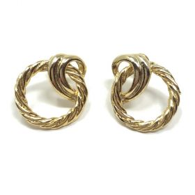 1990s Gold Plated Circle and Swirl Design Vintage Post Earrings