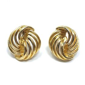 1990s Gold Plated Knot Design Vintage Post Earrings