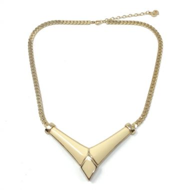 Christian Dior 1970s Gold Plate and Enamel Chevron Design Vintage Necklace