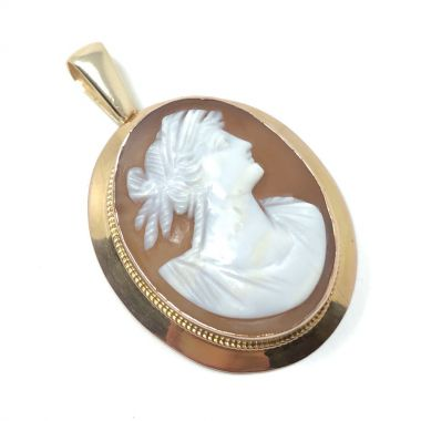 Late Victorian 9ct Gold and Shell Antique Cameo Pendant
