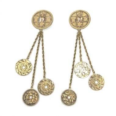 Joseff of Hollywood 1940s Far Eastern Inspired Vintage Coin Earrings