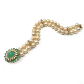 Panetta 1960s Faux Pearl Vintage Bracelet with Mughal Inspired Clasp