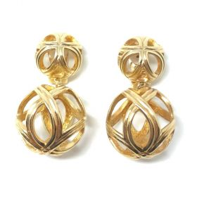 Christian Dior 1980s Gold Plated Cage Design Vintage Drop Earrings