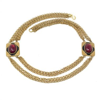 1970s Multi-Chain Vintage Statement Necklace With Red Glass Cabochons