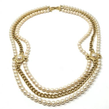Givenchy 1980s Gold Plate Chain and Faux Pearl Vintage Statement Necklace