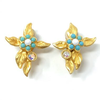 Christian Lacroix 1990s Gold Plate, Turquoise Glass and Rhinestone Vintage Floral Earrings