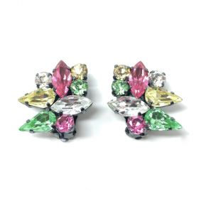 1950s French Couture Multi-Coloured Rhinestone Vintage Earrings
