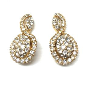 Christian Dior by Mitchel Maer 1950s Gold Plate and Rhinestone Vintage Earrings