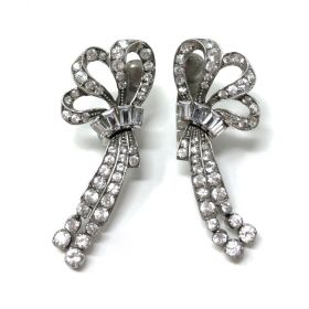 Ciro 1940s Sterling Silver and Paste Vintage Bow Earrings