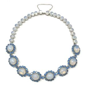 1950s Glass Moonstone and Blue Rhinestone Vintage Collar Necklace