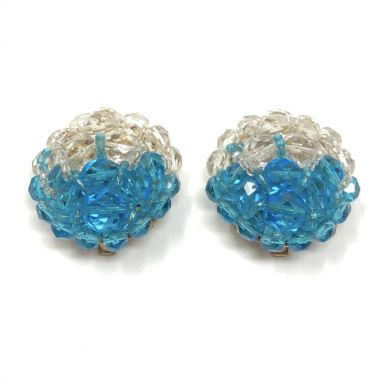 Coppola e Toppo 1950s Blue and Colourless Glass Bead Vintage Earrings