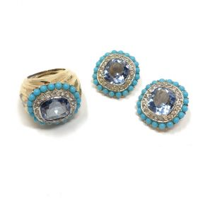 Jomaz 1960s Turquoise Glass and Amethyst Rhinestone Vintage Earrings and Ring Set