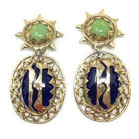 1980s French Blue and Green Glass Vintage Statement Sunshine Design Earrings