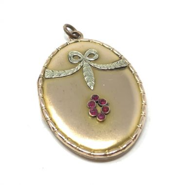 Kollmar and Jourdan c.1900 Gold Plate and Ruby Paste Bow Design Antique Locket