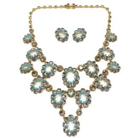 1950s French Couture Turquoise Glass and Grey Rhinestone Vintage Necklace and Earrings Set