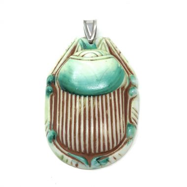 1920s Egyptian Revival Pressed Glass Vintage Scarab Pendant