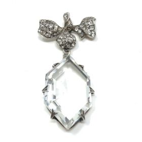 Edwardian c.1900 Silver, Crystal and Paste Antique Floral Pendant