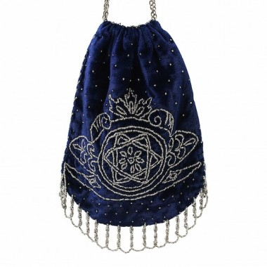 1800s Midnight Blue Velvet and Cut Steel Evening Bag